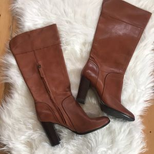 Halogen leather boots with stacked heels size 7.5